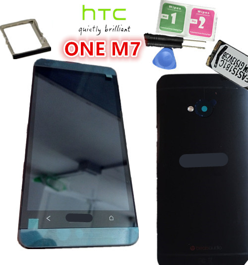 NEW Original Black frame~Full LCD Display+Touch Screen Digitizer+Frame+ Back Battery Case  For HTC ONE M7 801  free shipping high quality silver for htc one m7 lcd display touch digitizer screen frame back door battery cover case housing
