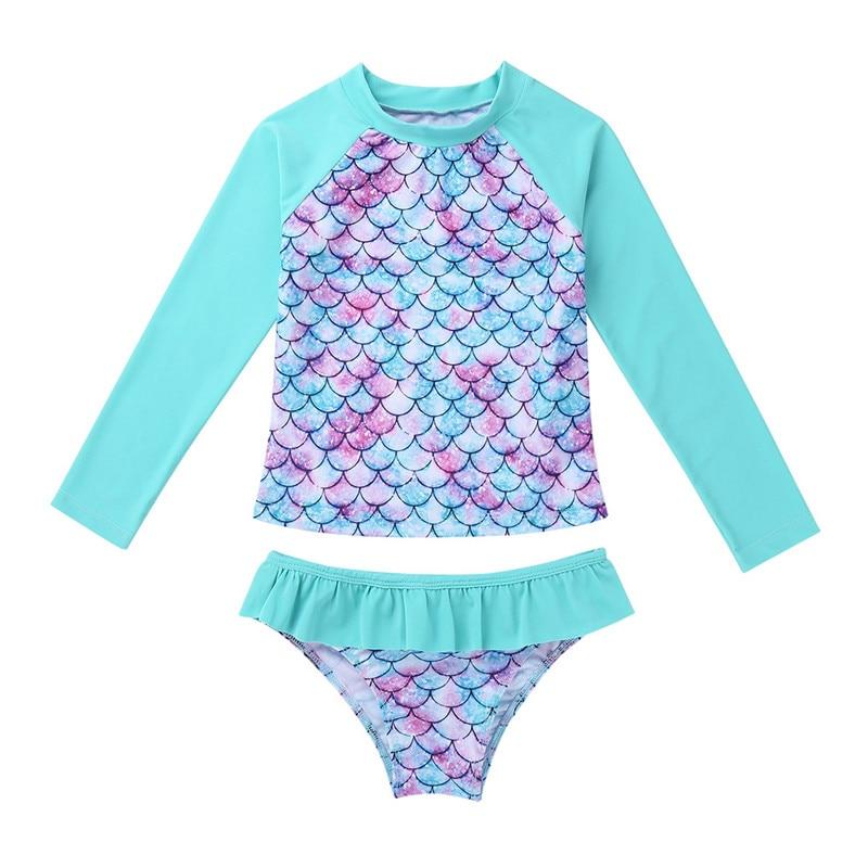 Beach Swimwear Ruffle Shirt with Bottoms Freebily Girls Mermaid Rash Guard Fish Scales Bikini Bathing Suit UPF50