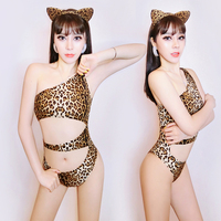 2019 Nightclub Bar Women Bodysuit Leopard Catwoman Party Singer Dance Costume DJ DS Teams Jazz Stage Outfit Rave Outfit DQS1291