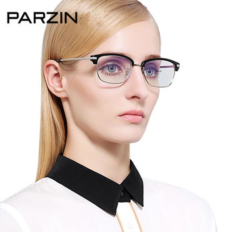 Parzin Eyeglasses Frame Half Box Male Women Tr90 Vintage Glasses Myopia Glasses Plain Mirror With Box Black 5030