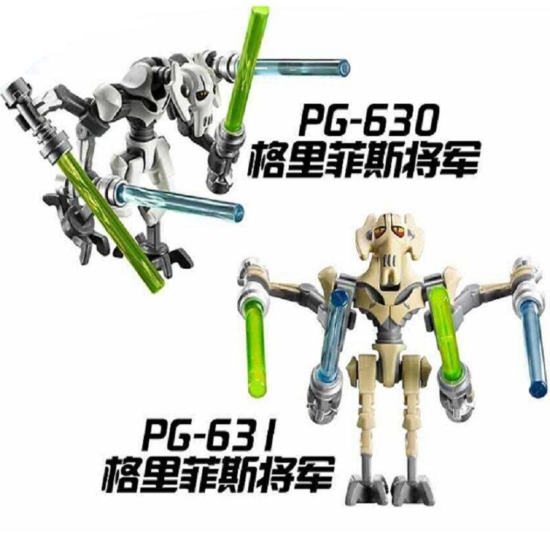 Super Heroes Star Wars General Grievous With Lightsaber W/Gun Model Building Blocks Bricks Action Toys for children PG630 PG631