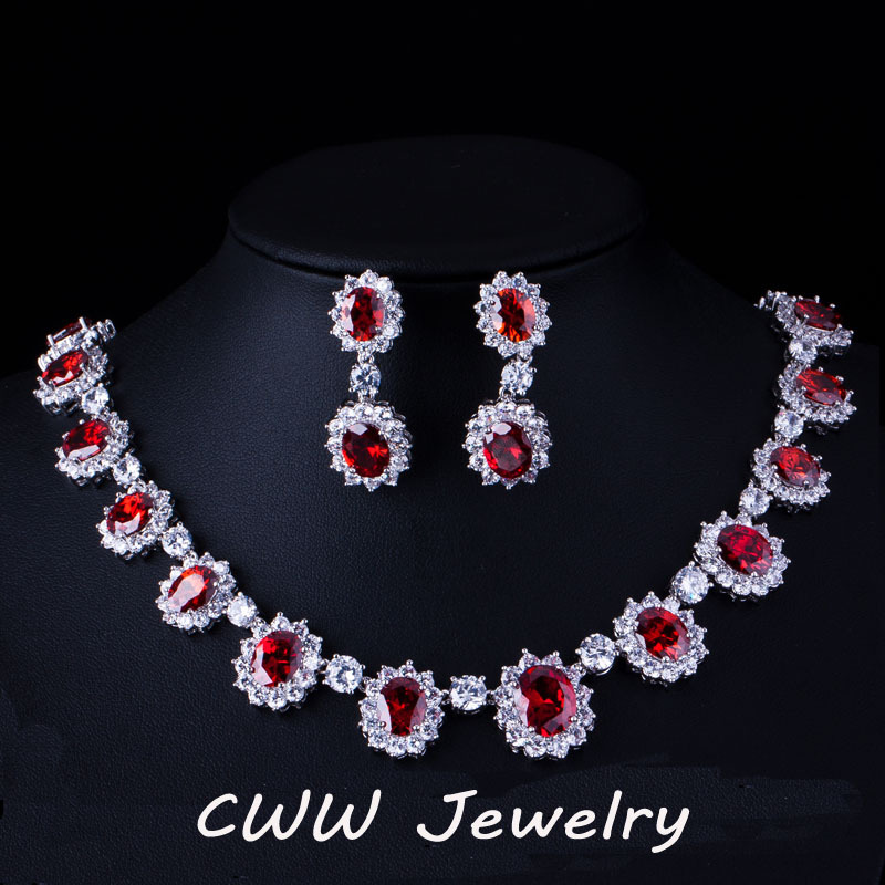 CWWZircons White Gold Color Red And Green CZ Crystal Bridal Necklace Earrings Jewelry Luxury Wedding Jewelries