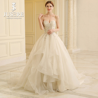 Top Beading Leaves Sweetheart Neckline Lace Back Court Train A line Tiered Pleat Bridal Organza Ruffle Wedding Dress Gown 2018