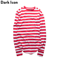 Striped Mens T Shirt Long Sleeve 2016 Winter Basic Extended Tshirts For Men Curved Hem Kpop