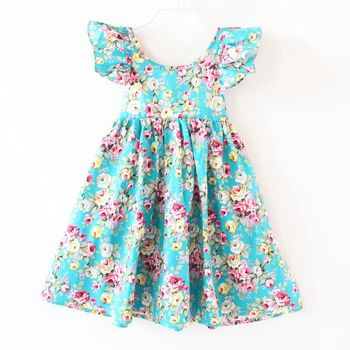 ZIKA Girls Dress 2017 Summer Girl Dress Fashion Butterfly Sleeve Floral Girls Dresses 18M-7Y Casual Beach Baby Girl Clothes  Платье