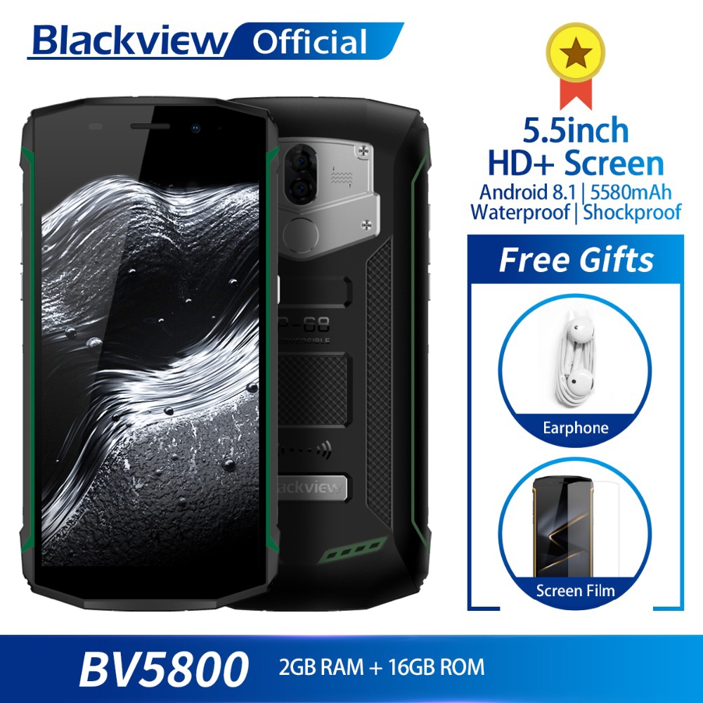 Blackview BV5800 MT6739 Quad Core 2GB 16GB 5 5inch Screen IP68 Waterproof Android 8 1 Smartphone