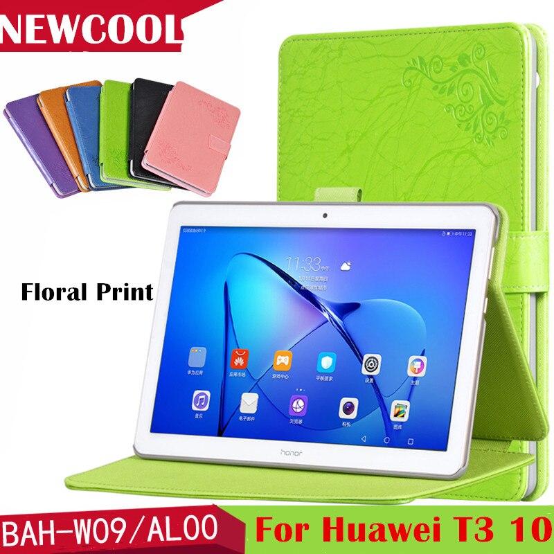 T3 10.0 Magnet Floral Smart PU Leather case Flip Cover for Huawei Mediapad T3 10 9.6 AGS-L03 AGS-L09 Wifi AGS-W09 tablet case mediapad m3 lite 8 0 skin ultra slim cartoon stand pu leather case cover for huawei mediapad m3 lite 8 0 cpn w09 cpn al00 8