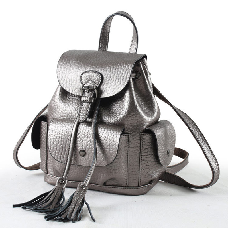 2018 Tassel Cover Backpack for Women Double Shoulder Bag High Quality Genuine Cowhide Leather Daily Knaspack Silver Bagpack double cover set marie claire double cover set