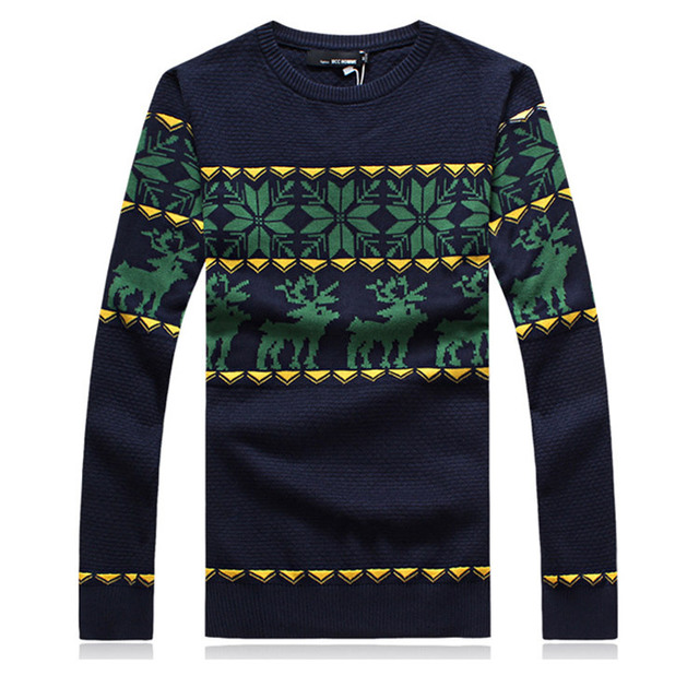 2014 Winter Style Fashion Christmas Reindeer Knitted Mens Sweaters Casual Slim fit O-neck Cardigan Long-sleeve Man Clothing XXL