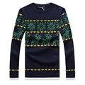 2014 moda inverno rena dos homens de malha blusas Slim fit O - pescoço Cardigan de manga comprida roupas XXL
