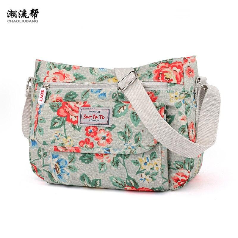 Fashion Women Famous Brands Nylon Shoulder Beach Bag Flower Waterproof Crossbody Bolsa Feminina Handbag For Bolsos Mujer Sac
