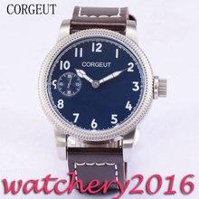 Luxury Corgeut 45mm Blue Dial White Marks Luminous Hands 17 jewels 6497 Hand Winding movement Men