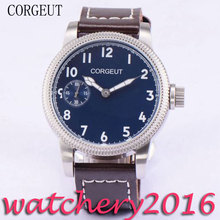 Luxury Corgeut 45mm Blue Dial White Marks Luminous Hands 17 jewels 6497 Hand Winding movement Men's Mechanical Wristwatches