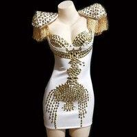 Блестящие золотые стразы платье с кисточками пикантные прозрачные костюм ночной клуб певица танцевальные платья Для женщин на день рожден