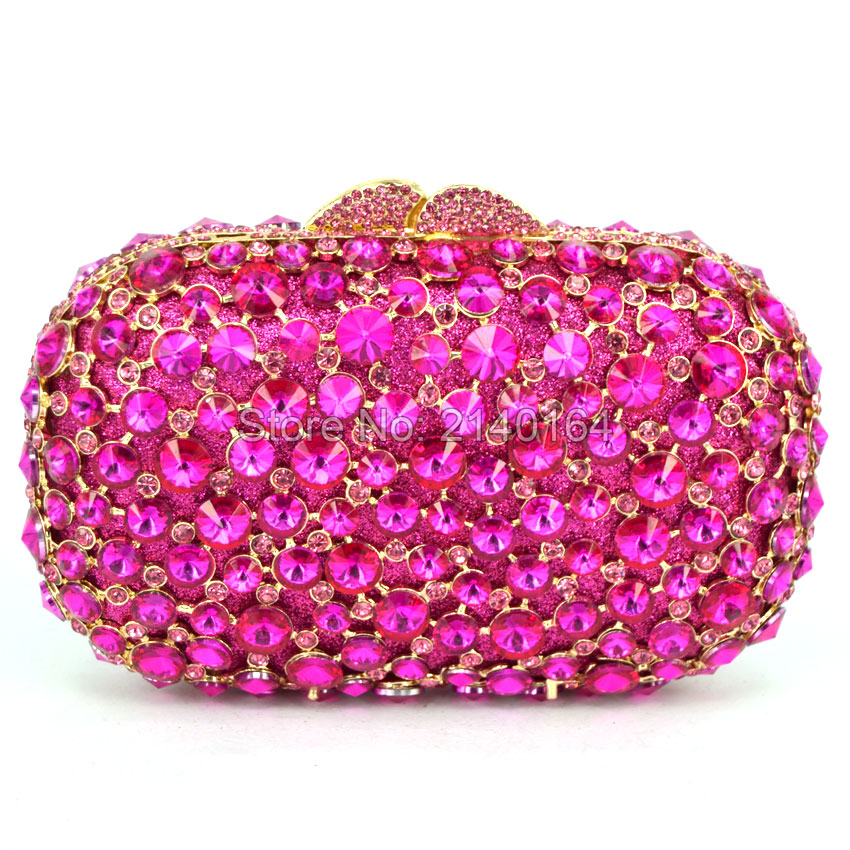 Wedding Party Purse bag Banquet Clutch Stylish Golden Crystal Evening Bag Pink diamond hand bag wedding bridesmaid Wallet 88414 brand designer luxury crystal multicolor clutch bag women diamond evening bag golden oval wedding banquet purse handbags sc467