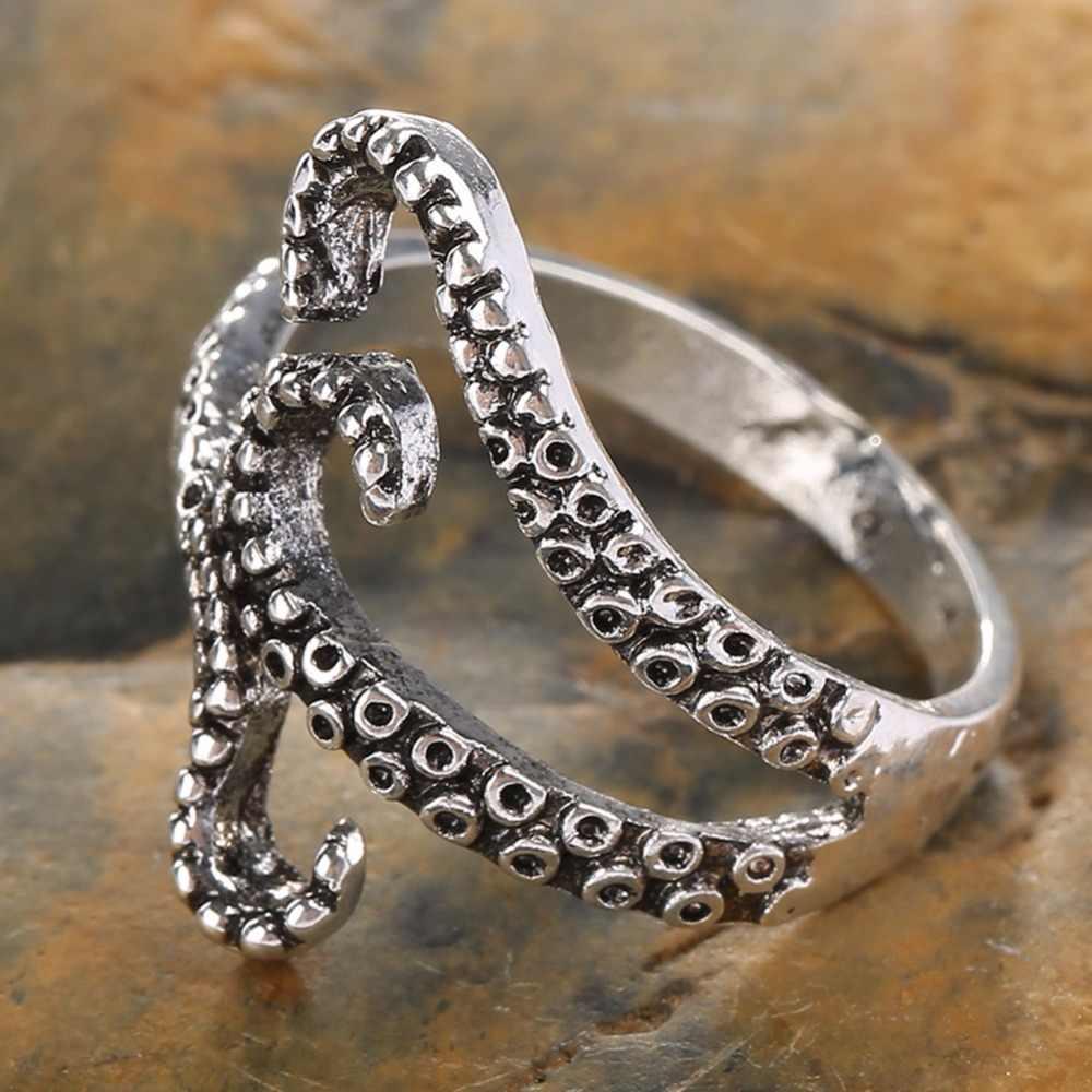 1 шт., Настраиваемые кольца с осьминога для женщин и мужчин, индивидуальное кольцо с кальмаром в стиле панк, кракен, винтажные вечерние кольца с пальцами в стиле рок, ювелирные изделия
