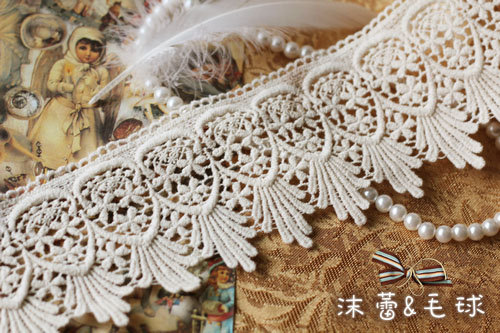 5 yards Cotton Lace Trim-Off White Retro Lace Graceful Lace Trim With Feather Pattern ...