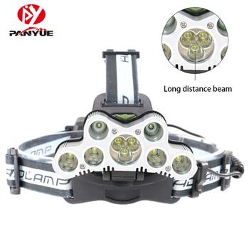 PANYUE 超高輝度 50 ワット 20000LM 7 * XML-T6 + 2 * R2 LED ヘッドランプ USB 充電式ヘッドランプ LED ヘッドライト sos 笛