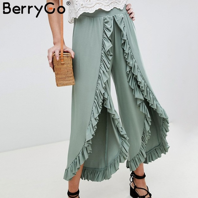 BerryGo Vintage ruffle casual pants capri High waist baggy split fashion pants women Retro wide leg female trousers bottoms 2018 2
