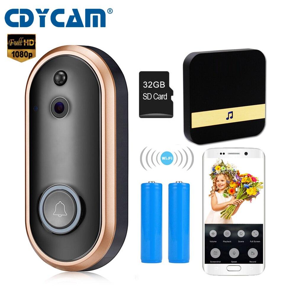 CDYCAM Rechargeable Battery WIFI Doorbell Intercom Wireless Video Door Phone 1080P Door Bell Camera Two Way