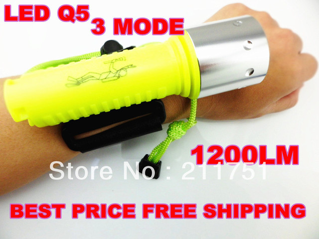 Big promotion!Free Shipping +Free Gift CREE LED Q5 1200LM LED 3 Mode For 18650 LED Waterproof Diving Flashlight Torch Lamp
