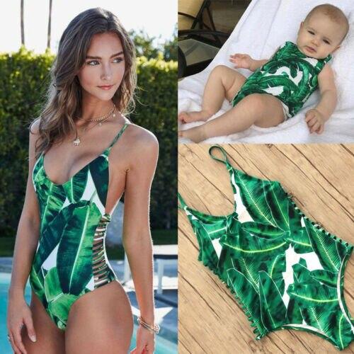 Family Matching Swimwear Mother Daughter Women Kid Baby Girls Printed High Quality Hot Selling 2019 New Swimsuit Bikini