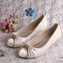 Wedopus MW776ที่กำหนดเองแฮนด์เมดไอวอรี่ลูกไม้เจ้าสาวแต่งงานรองเท้าบัลเล่ต์แฟลตเปิดนิ้วเท้า