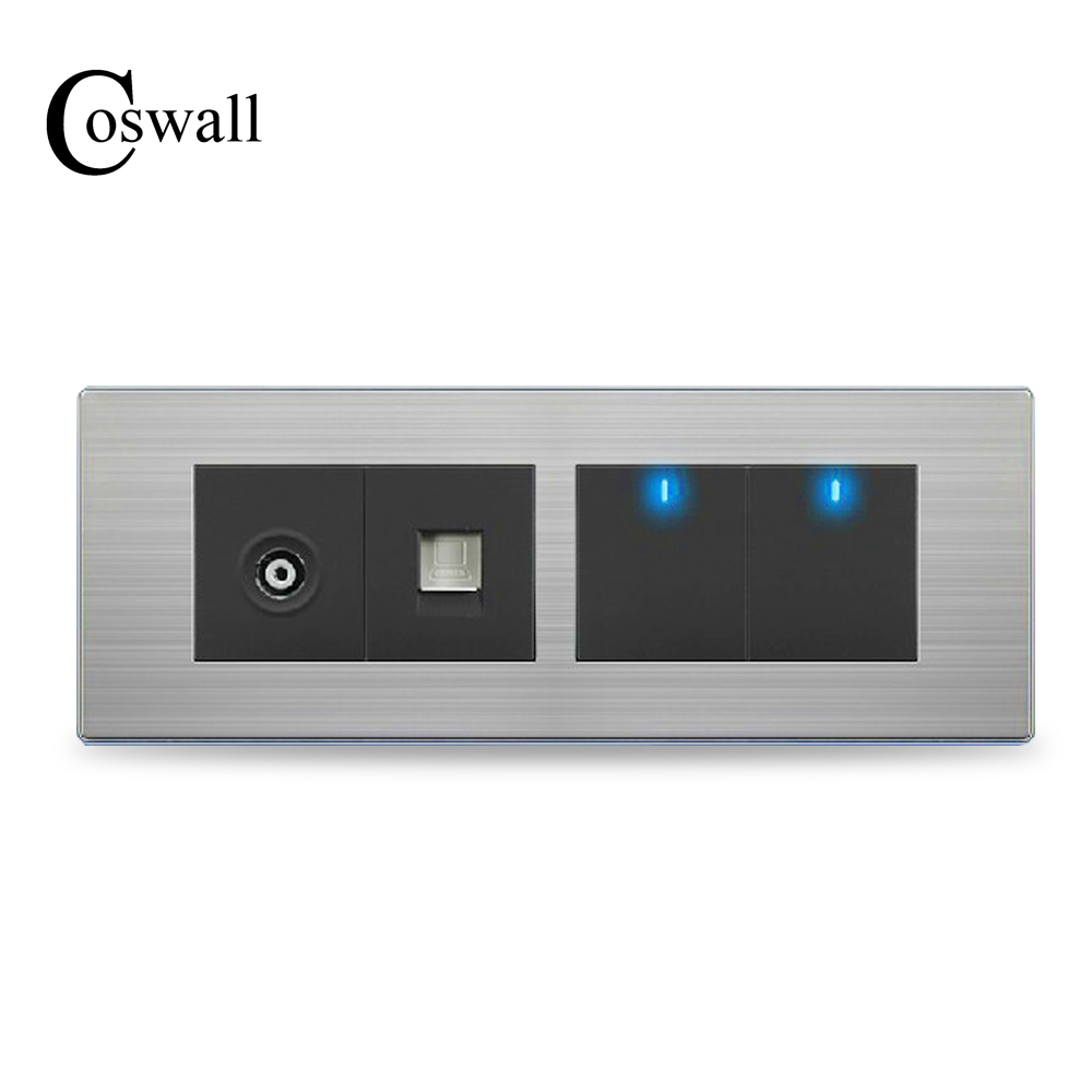 COSWALL 2 Gang 2 Way Wall Light Switch LED Indicator With TV Outlet and RJ45 Internet Port Stainless Steel Panel 197* 72mm charles f hofacker internet marketing 3rd edition with wall street journal handbook set
