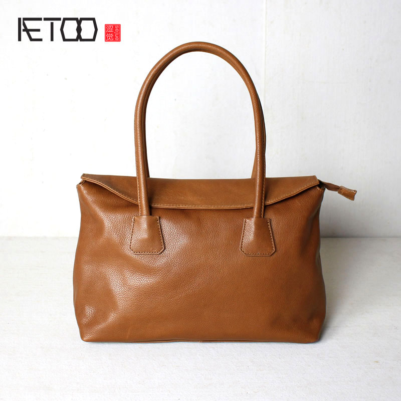 AETOO The first layer of leather Europe and the United States Fan fashion handbag shoulder bag bag leather men and women simple europe and the united states style first layer of leather lychee handbag fashion retro large capacity solid business travel bus