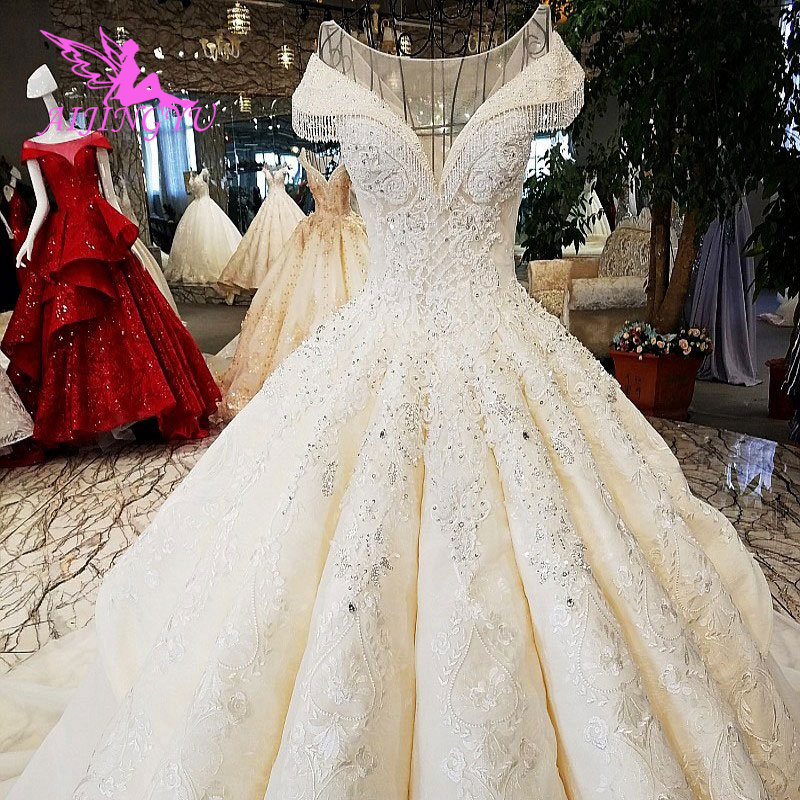 AIJINGYU Satin New Wedding Dress Gown 2017 Sexy Bride Shiny China Custom Made Bridle Romantic Drees Wedding Gowns With Sleeves