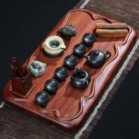 Hua Limu Solid Wood Tea Set Tea Tray Ceramic Annatto Kung Fu Tea Tea Tea Table