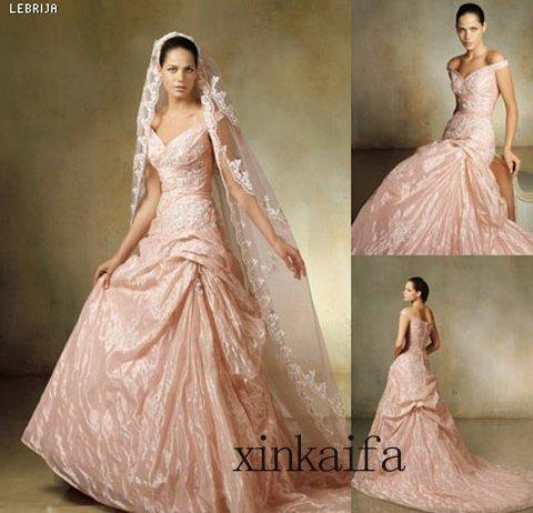 Élégante rose foncé taffetas a - line - parole longueur tribunal Train festonné de mariée robe de mariée robe de mariée numéro 14092