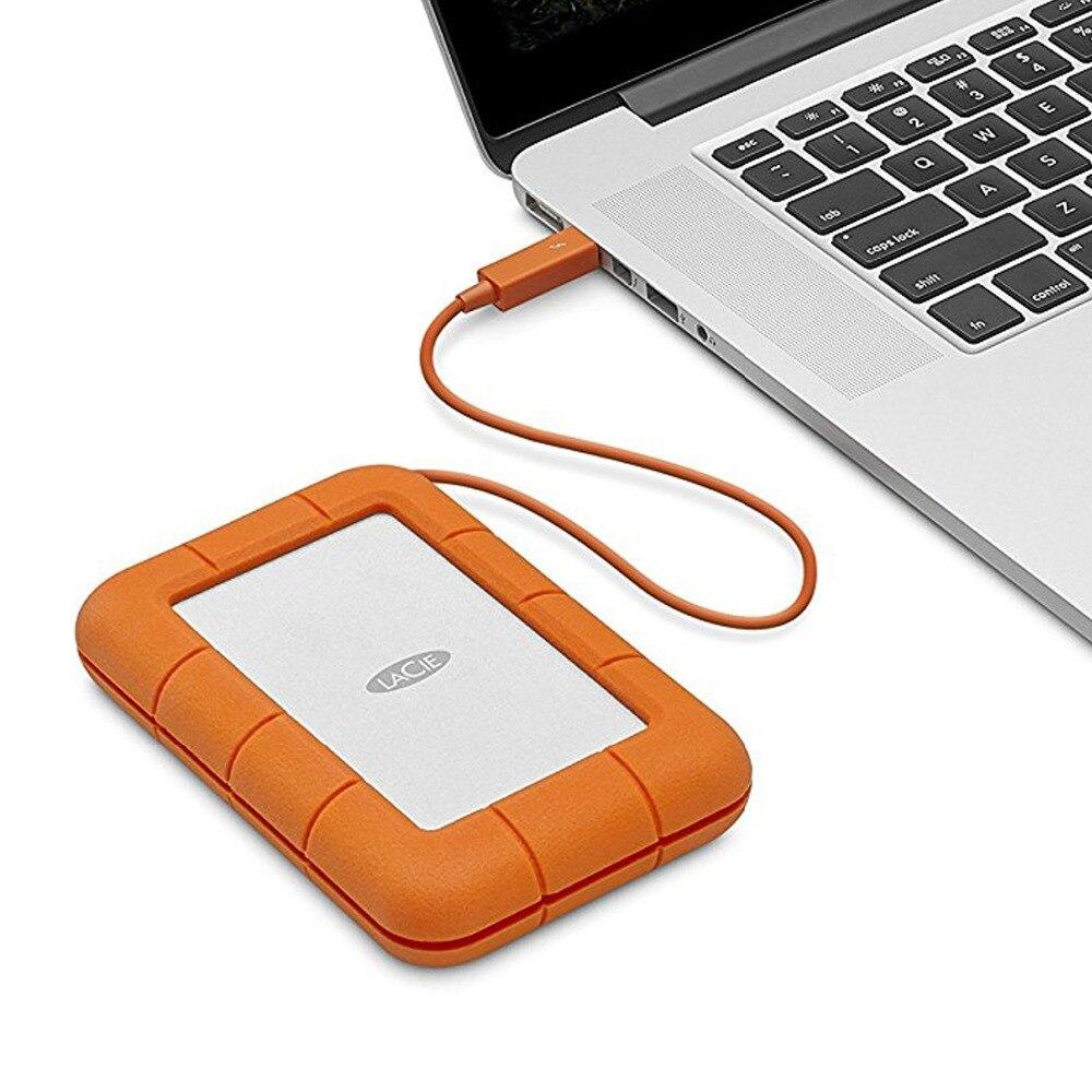 Obsługi LaCie Rugged Thunderbolt USB-C 5000 GB 2.5 Cal srebrny Hd z zewnętrznym USB typu C 3.0 (3.1 Gen 1) zasilany przez port USB pomarańczowy