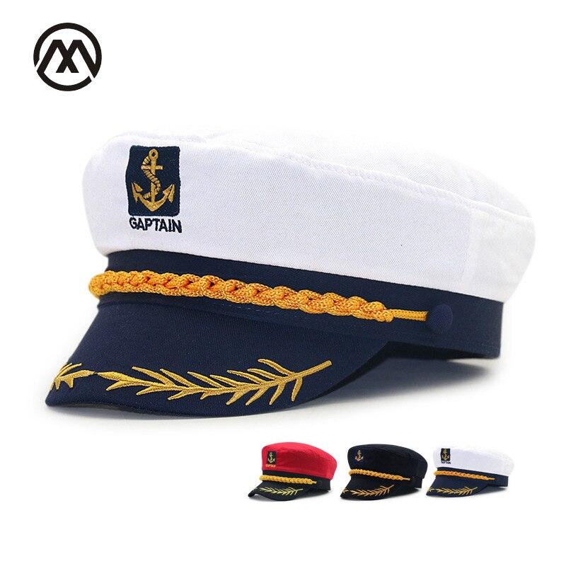 1302ec0bc079 Gorras de coral planas retro de la Marina del capitán gorras de uniforme de  la bola de maquillaje ...