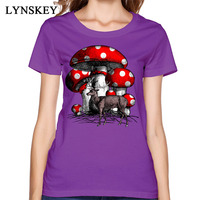 LYNSKEY On Sale Crazy Summer Autumn Deer And The Giant Mushroom T Shirt 100 Cotton O