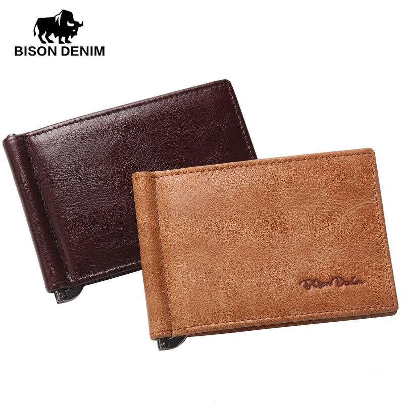 BISON DENIM Genuine Leather Mini wallet Men Zipper Coin Pocket Dollar money clip brown yellow vintage