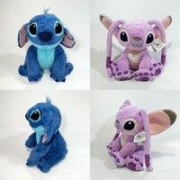 1 PCS Sitting height 35cm Lilo And Stitch Toys #626 Stitch And #624 Angel Stuffed Plush Soft Doll For kids Gift