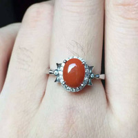 Natural south red agate Ring Natural gemstone Ring S925 Sterling Silver trendy luxurious Square women's Party Jewelry