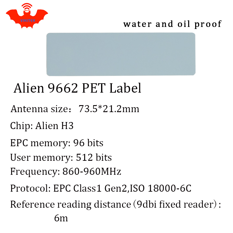 UHF RFID tag Alien 9662 printable PET label 915mhz 900mhz 868mhz 860 960MHZ Higgs3 EPCC1G2 6C smart card passive RFID tags label in Access Control Cards from Security Protection