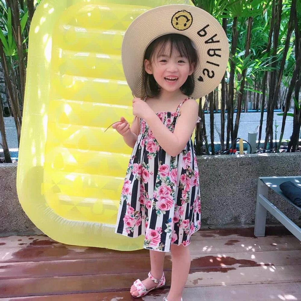 2017 Baby Dress Sleeveless Fashion Cotton Floral Toddler Girl Dresses O-Neck A-Line Mini Girls Party Dress Baby Clothes super fuchsia baby flower girl dresses sleeveless v neck baby christmas dress ruffles toddler thanksgiving dress