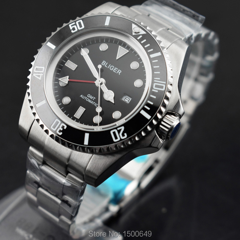 BLIGER Big 43mm Sterile dial Ceramic Bezel red GMT automatic Date mens' wristwatch
