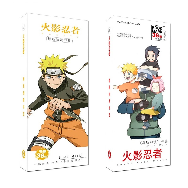 36Pcs/Set Japanese Anime Naruto Paper Bookmark Stationery Bookmarks Book Holder Message Card Gift Stationery