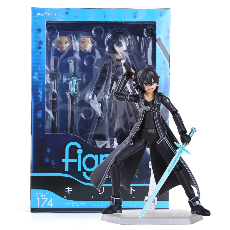 Anime Sword Art Online kirigaya kazuto Figma 174 PVC Action Figure Collectible Model Toy 15CM sword art online alover kirigaya kazuto figma 289 figurine pvc action figures juguetes collection model kids toys