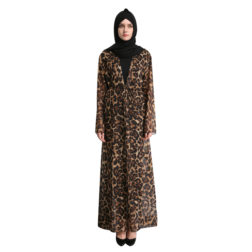 Adult Chiffon Leopard Print Long Sleeve Malaysia Turkish Islam ...
