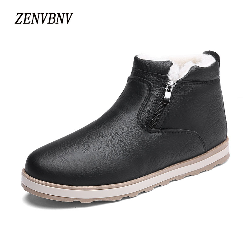 ZENVBNV Winter Plush Retro Men Microfiber Boots Casual Shoes Mens Snow Boots Comfortable Flats Zip Warm Ankle Waterproof  Boots