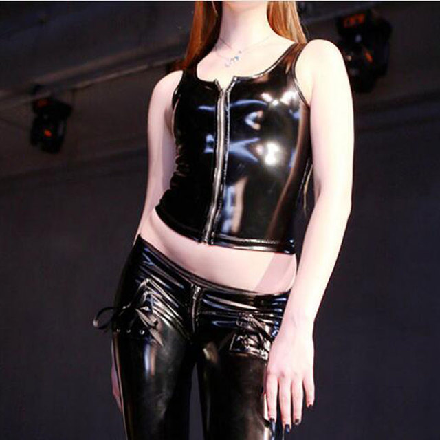e2d66ec3f02 Sexy Women PVC Shiny Short Tank Tops PVC Leather Zipper Bandage Short Vest  Tops Punk Stage