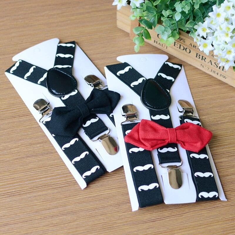 OnnPnnQ Children Suspenders Set Y-back Adjustable 3 Clip On Elastic Braces Boy Girls Bowtie Set Performance Accessories For Kids