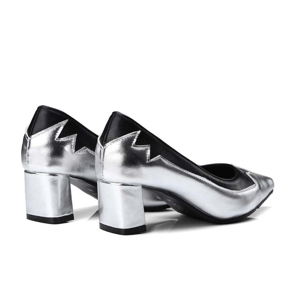 Printemps Marque Profonde Slip Matures argent L10 Office Summer Med Femmes Pompes Party Chaussures Or Bout Pointu Clssics Talons Sur Peu Lenkisen Épais Lady qTw08XX