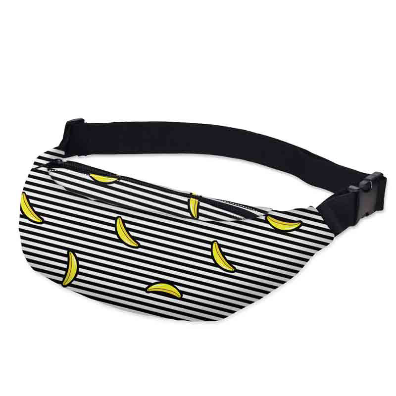 Free Shipping High Quality 3d Printed Waist Bags Pack Striped With Banana Pattern Adjustable Band For Outdoors Fanny Packs