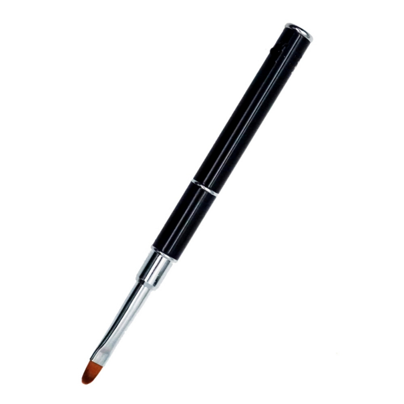 1PCS Dual-ended Builder UV & Poly Gel Nail Brush Nylon Hair Flat Pusher For Nail Tips Extension Gel Tips Building Carving Pen